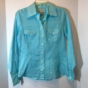 NWT Banana Republic blue semi sheer button down